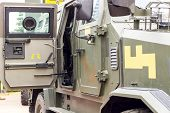 Military Equipment. Close-up Of Military Transport. Military Equipment. Close-up Of Military Transpo poster