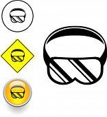 buceo o protección para los ojos gafas de botón y signo de símbolo