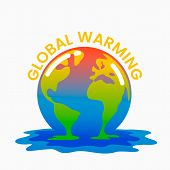 Planet Earth Is Melting And Dying Of Global Warming. Earth Turns Into A Puddle. poster