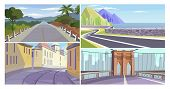 Roads Vector Illustration Set. Country Road, Highway Along Seaside, Narrow Old City Alley, City Brid poster