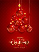 Christmas Balls And Shiny Stars On Red Background. Illustration With Golden Lettering Merry Christma poster