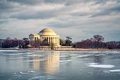 Winter in Washington DC: Jefferson Memoriall at frosty day poster