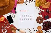 November Calendar Page, Hat, Smartphone, Fruits, Cosmetics, Dry Leaves, Donut, Multicolored Papers,  poster