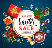 Winter Sale Invitation Banner, Poster.christmas And New Year Discounts Offers With Traditional Chris poster