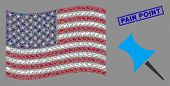 Pin Icons Are Organized Into Usa Flag Abstraction With Blue Rectangle Distressed Stamp Seal Of Pain  poster