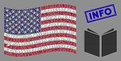 Open Book Items Are Organized Into Usa Flag Mosaic With Blue Rectangle Distressed Stamp Seal Of Info poster