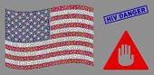 Caution Symbols Are Combined Into Usa Flag Mosaic With Blue Rectangle Corroded Stamp Watermark Of Hi poster