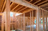 Framing Beam Of New House Under Construction Home Beam Construction poster