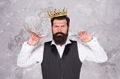 The Beard Trend Continues. Big Boss With Long Beard And Mustache Hair. Bearded Man Hold Beard Groomi poster