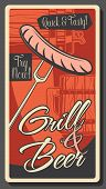 Beer And Sausage Grill, Oktoberfest Beer Fest And Brewery Pub. Vector Barbecue Grill Sausage On Fork poster