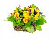 basket of roses, tulips and limonium