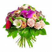 bouquet of rose, paeonia and orchid