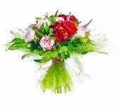 bouquet of paeonia, veronica, eremurus, godetia
