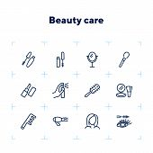 Beauty Care Line Icon Set. Mascara, Brush, Lipstick. Beauty Concept. Can Be Used For Topics Like Bea poster