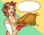 Pop Art Woman Holding Tray With Turkey Or Chicken For Thanksgiving Or Christmas Holidays Dinner Cele poster
