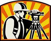 Surveyor Engineer Theodolite Total Station Retro