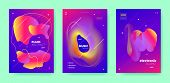 Pink Dj Flyer. Electronic Music. Colorful Gradient Banner. Neon 3d Fluid Design. Purple Dj Poster. E poster