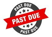 Past Due Sign. Past Due Black-red Round Ribbon Sticker poster