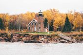 Sand Island Lighthouse In Wisconsin On Lake Superior In The Apostle Islands National Lakeshore - Tak poster