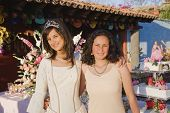 picture of quinceanera  - Hispanic girl and friend at Quinceanera - JPG