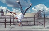 Male Athlete, Standing On One Arm, Summer City, Hip Hop Style, Break Dancer. Building Staircase Back poster