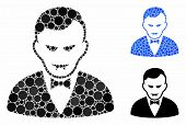 Vampire Mosaic Of Circle Elements In Variable Sizes And Color Tinges, Based On Vampire Icon. Vector  poster