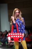 ZAGREB, CROATIA - MAY 10: Fashion model wears clothes made by The Rodnik Band on