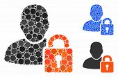 User Locked Mosaic Of Round Dots In Various Sizes And Color Tinges, Based On User Locked Icon. Vecto poster
