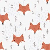 Cute Seamless Pattern With Cartoon Orange Fox Heads, Brown Fir Trees And Light Mountains. Funny Hand poster