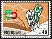 Postage stamp Italy 1967 shows Bicyclists and Mountains