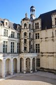 stock photo of leonardo da vinci  - One of the interior yard view of the Chambord Castle - JPG