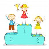 Ilustración de niños en el podio de la victoria con medalla