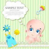 Постер, плакат: Иллюстрация карточка прибытия baby baby и игрушки