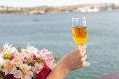 Beautiful Sea Vacation, Romantic Summer At Sea Cruise One Glass Of Wine Bouquet Of Flowers. Ocean Tr poster