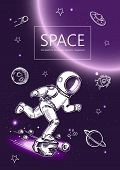 Space Background. Outline Astronaut, Planets, Satellites, Flying Saucers. Astronaut Is Running In Sp poster