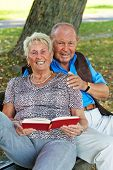 picture of senior-citizen  - older elderly couple in love - JPG