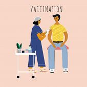 Children Vaccination And Immunization Concept. Child On Mothers Knees Gonna Make A Vaccine Injection poster