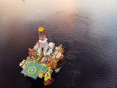Oil Rig Accident Spill Into Sea, Aerial Top View. Concept Ecological Disasters Water poster