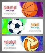 Banners With Sports Balls - Basketball, Volleyball, Football. Sports Tournaments In Basketball, Voll poster