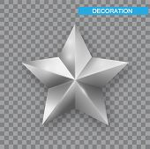 Silver Christmas Star Isolated On White Background. Christmas Decoration Of Silver Metallic Color. S poster