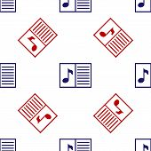 Blue And Red Music Book With Note Icon Isolated Seamless Pattern On White Background. Music Sheet Wi poster
