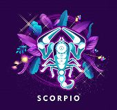 Vector Illustration Of Magic Horoscope Sign Scorpio Style Of The 60s, Bright Hippie Art poster