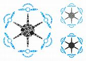 Flying Hexacopter Mosaic Of Humpy Elements In Various Sizes And Color Hues, Based On Flying Hexacopt poster