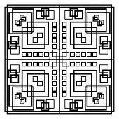 Black And White Geometric Patterns Composed Of Symmetric Placed Squares. Monochrome Patterned Square poster