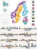 Vector Scandinavian And Baltic Countries Map With Flags And Cities Skylines: Copenhagen, Stockholm,  poster