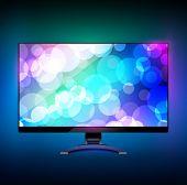 Modern wide screen tv display 2. On black