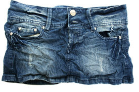 pic of jeans skirt  - Blue jeans skirt isolated on white background - JPG