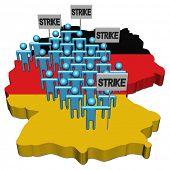 trabalhadores em greve em ilustração de bandeira de mapa de Alemanha