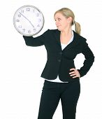 Businesswoman Staring At Clock