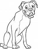 Boxer perro de dibujos animados para colorear libro